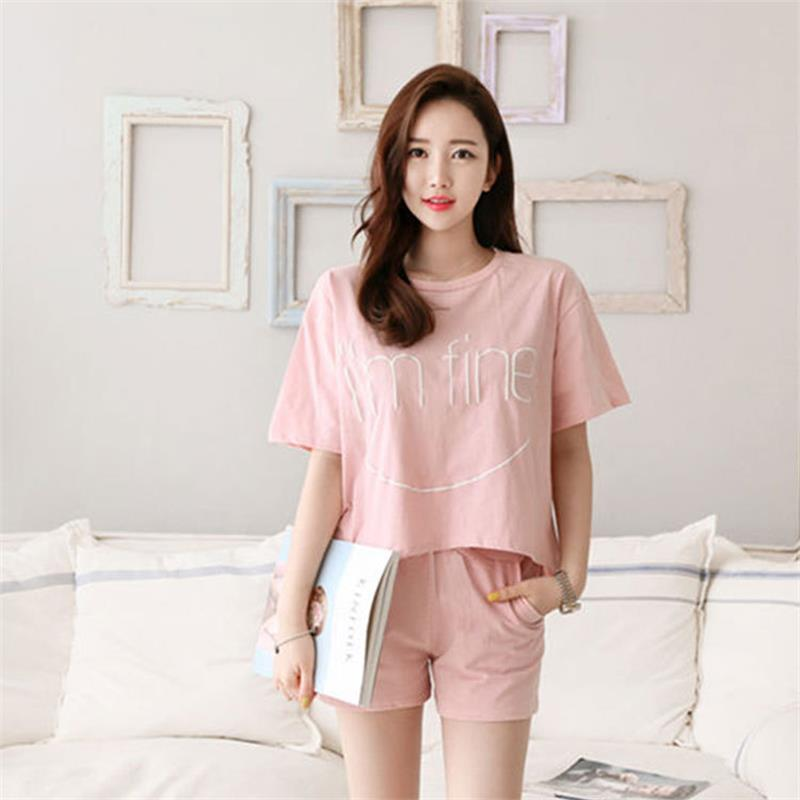 Pajamas For Women Summer Pajamas Set New Fashion Casual Short Sleeve Sleepwear Loose  Printed Women Pajamas Cute Sleepwear
