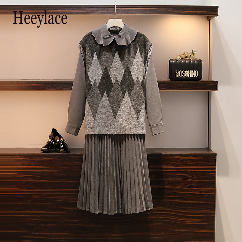 Plus Size Autumn Woolen Vest And Pleated Dress For Women Fat Ladies Casual Long Sleeve Bow Collar Women Two Piece Set 5XL