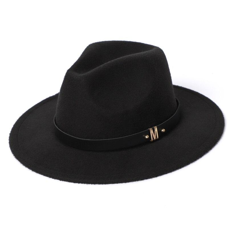 Man Fedora Hats Top Winter Imitation Wool Cap Women 2020 Autumn Classic Wide Brim Black Red Men Felt Hats Women 1