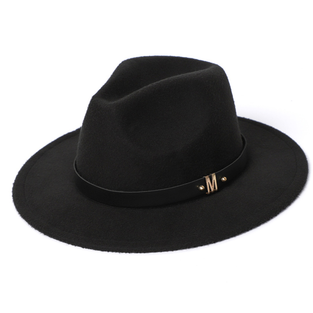 Man Fedora Hats Top Winter Imitation Wool Cap Women 2020 Autumn Classic Wide Brim Black Red Men Felt Hats Women 1