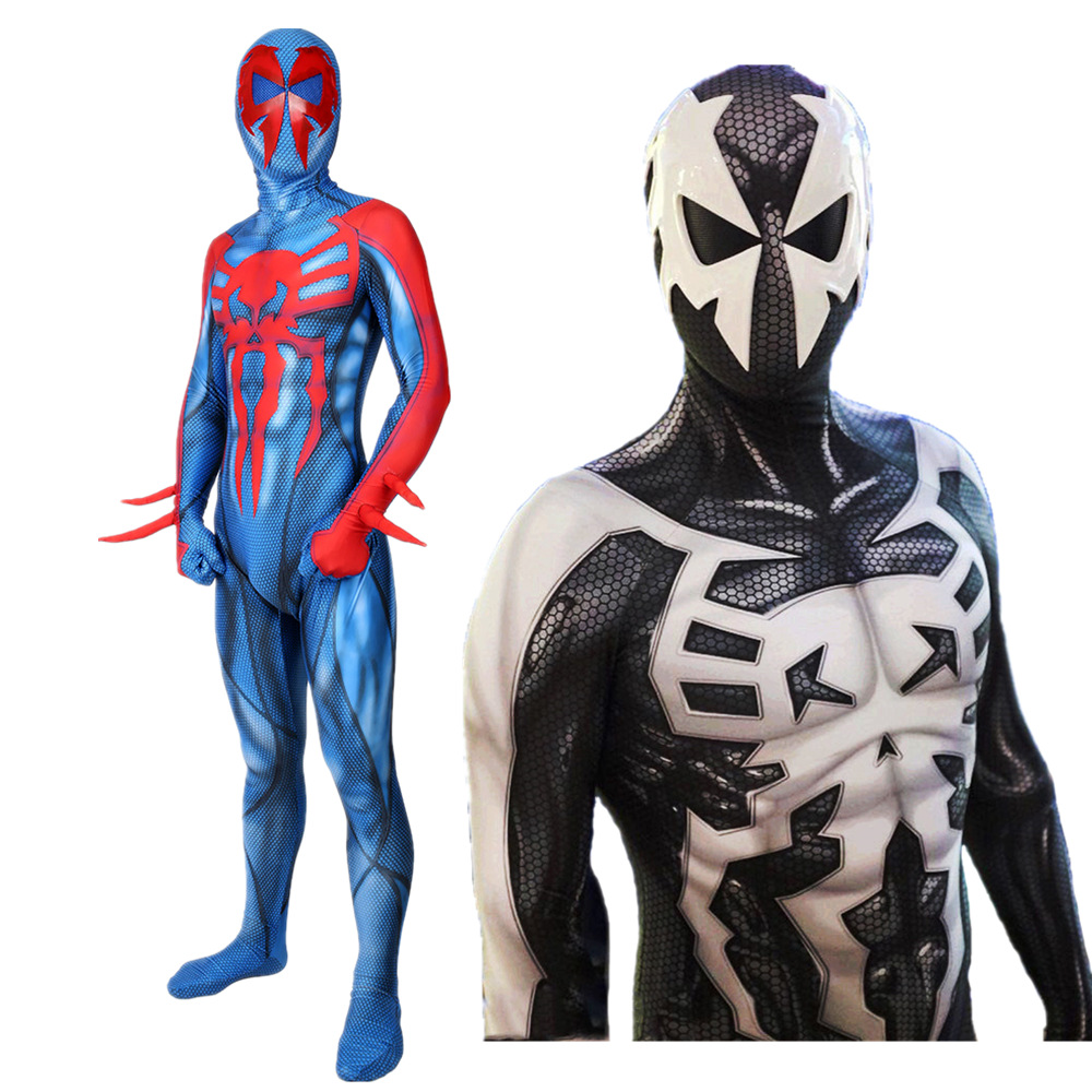 spiderman 2099 costume Miguel O'Hara Adult kids black spiderman costume boys men Superhero Zentai halloween costumes customizab