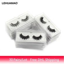 LEHUAMAO 30 pares/lote Maquiagem Mink Cílios Macios Naturais Longos Cílios Postiços 3D Crueldade Livre de Cílios Falsos Olho Dramático