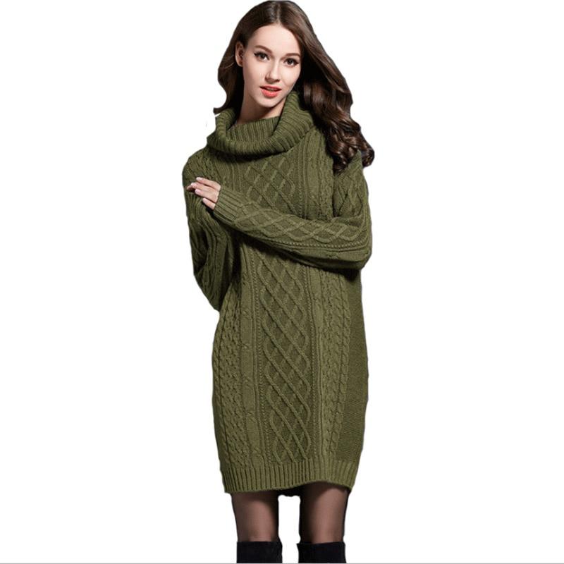 2018 Winter Crochet Sweater Dress Plus Size Spring Women Long Sleeves Turtleneck Black Knitted Dress Lady Dresses For Winter
