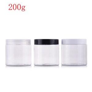 Image 1 - (40 pcs) 200g rotonda di colore chiaro di Plastica vuota maschera di Crema bottiglia in PET vasi contenitori per imballaggio cosmetico per la cura della pelle crema di latta