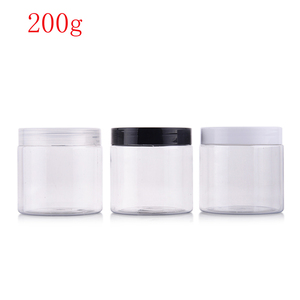 Image 1 - (40pcs)200g round clear color empty Plastic Cream mask PET bottle jars containers for cosmetic packaging skin care cream tin