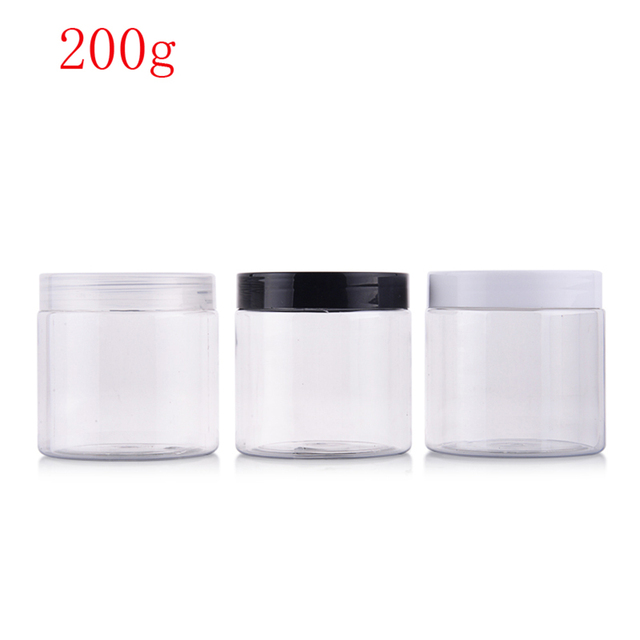 (40pcs)200g round clear color empty Plastic Cream mask PET bottle jars containers for cosmetic packaging skin care cream tin