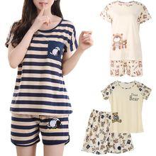 Женская пижама с героями мультфильмов, Хлопковая пижама с коротким рукавом, домашняя пижама, пижама