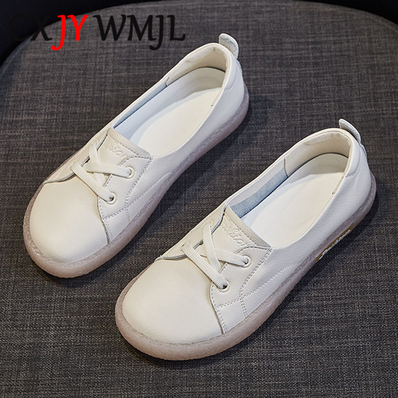 Large Size Genuine Leather Casual Shoes Women Sneakers Cowhide Vulcanized  Shoe Autumn Comfortable Flats Female White Sneaker 41
