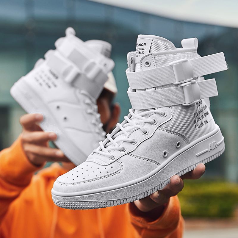 2020 New Men's High-top Tide Shoes Casual Sports Style Youth Trend Casual Board Shoes Korean High-top Velcro Board Shoes Men