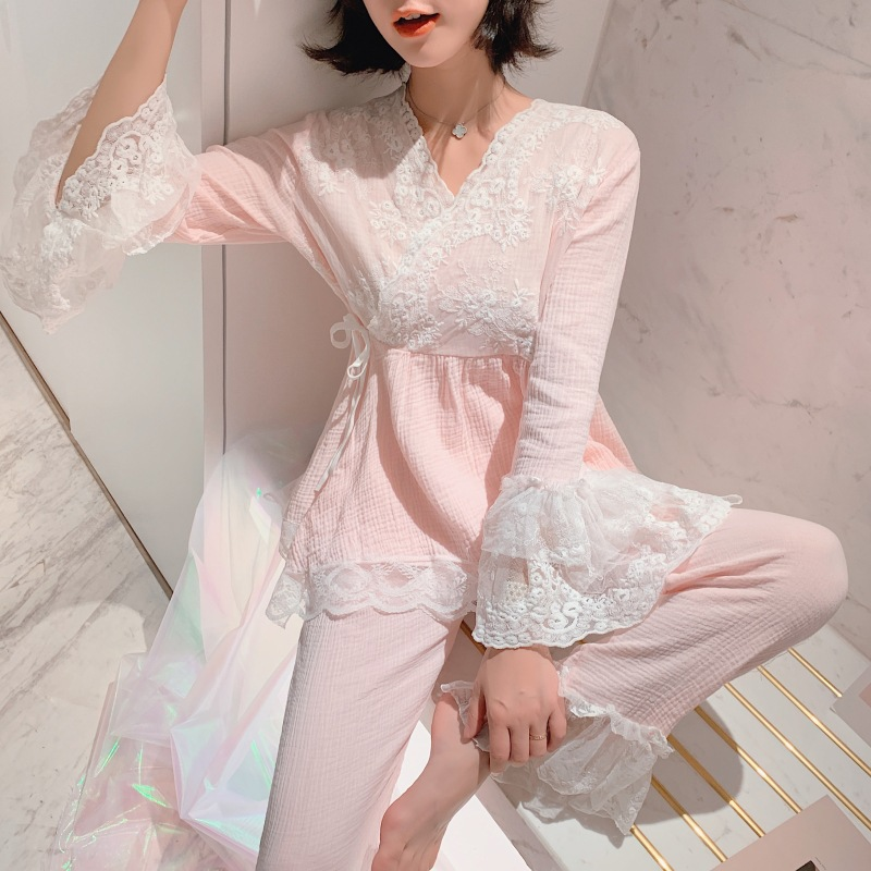 Spring And Autumn New Korean Version Of Cotton Cotton Gauze Women's Court Pajamas Set Cute Chinese Style Large Size Home Service