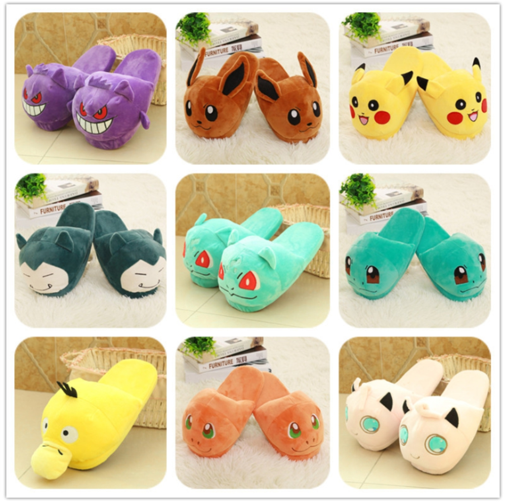 Kawaii cartoon slippers shoes indoor pokemon woman cosplay winter warm
