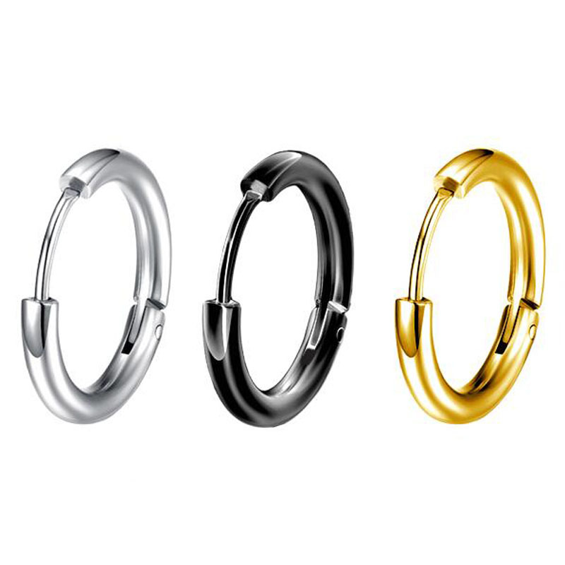 Simple Round Stainless steel Hoop Earrings idol Punk Fashion Earrings gold silver color korean jewelry for men women couple Gift