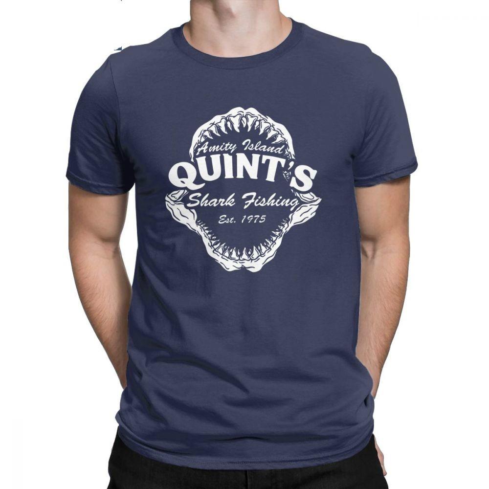 Men T Shirts Quints Shark Fishing Funny Short Sleeve Amity Island 1975 Jaws Tee Shirt O Neck Clothing Cotton Plus Size T-Shirt