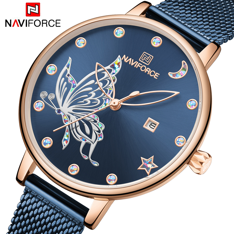 Marca de Luxo Inoxidável à Prova Naviforce Relógios Femininos Reloj Borboleta Relógio Moda Quartzo Senhoras Malha Aço Dwaterproof Água Presente Muje