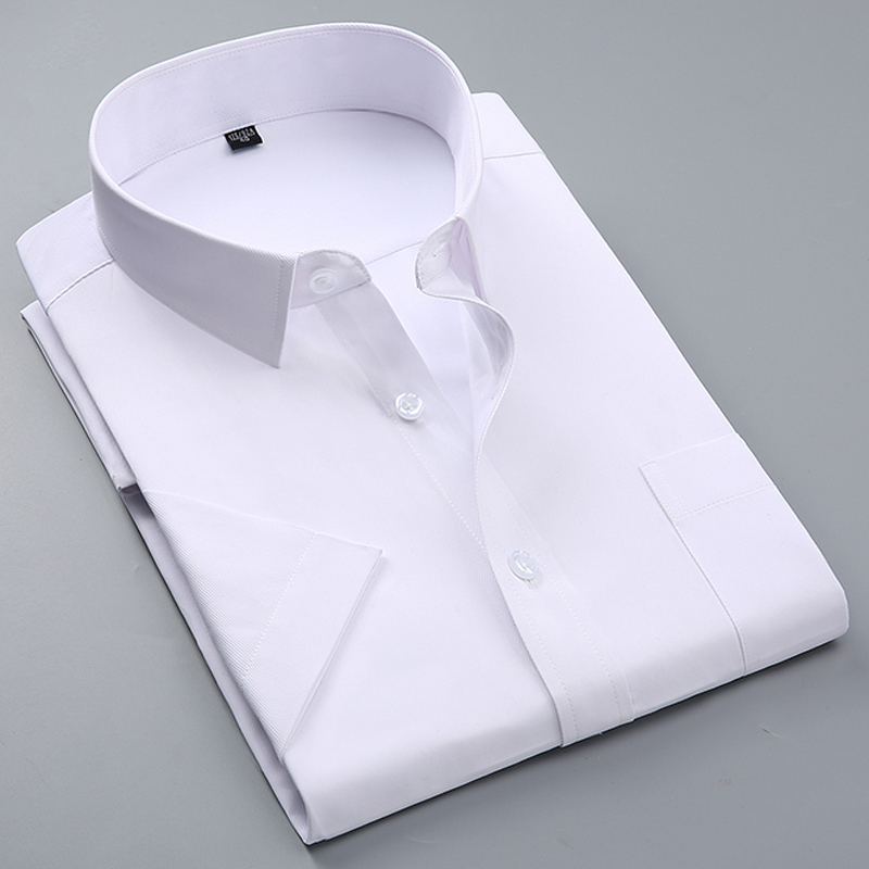 Summer Men's Short-sleeve White Basic Dress Shirt With Single Chest Pocket Standard-fit Business Formal Solid/twill/plain Shirts