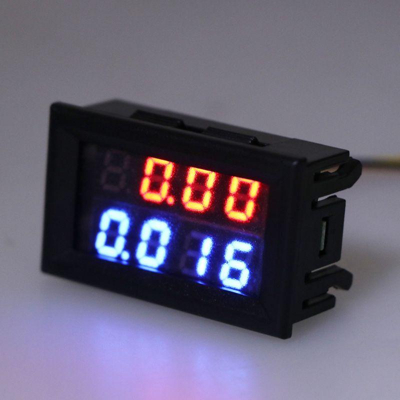 Digital DC Voltmeter Ammeter 4 Bit 5 Wires DC 200V 10A Voltage Current Meter Power Supply Red Blue LED Dual Display 0.28 Inch