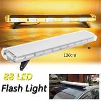 Audew Amber/White 88 LED 47 Strobe Light Warning Light Flashing Signal Emergency Beacon Light Bar Car Truck Tow Bright Lamp
