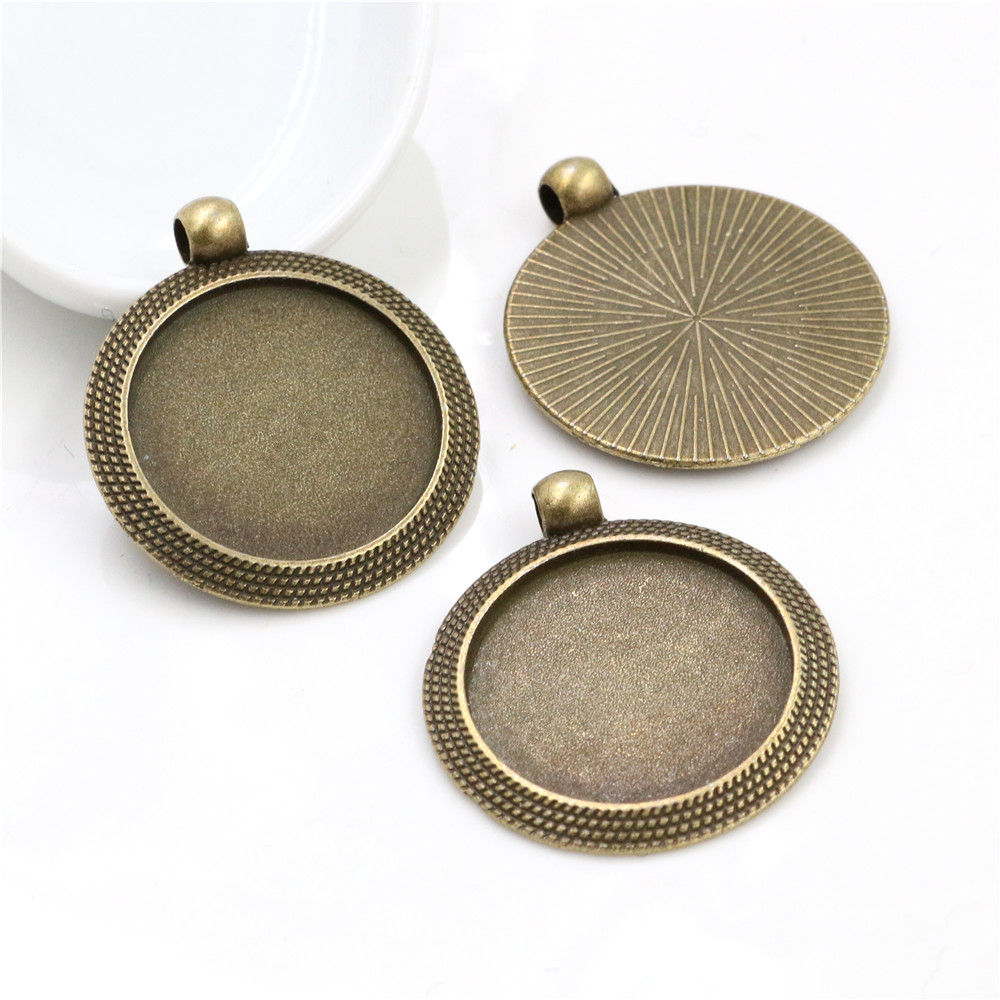 New Fashion  5pcs 25mm Inner Size Antique Bronze Cool Style Cabochon Base Setting Charms Pendant (A3-45)