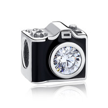 Authentic 925 Sterling Silver Bead Black Enamel Camera With Crystal Charms fit Pandora Bracelet Bangle DIY Jewelry