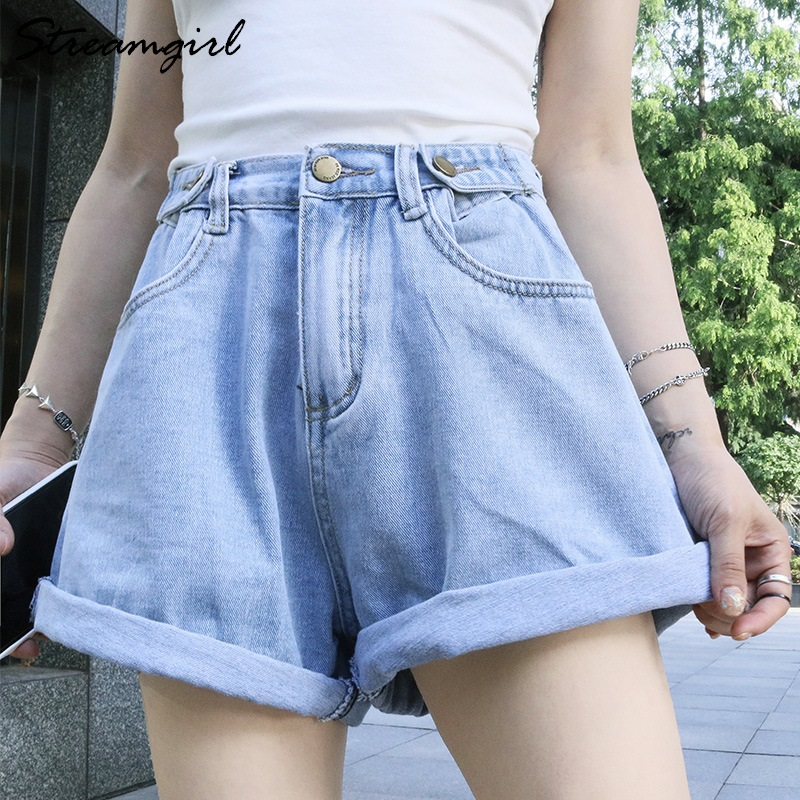 Black Denim Shorts High Waist Women Summer Short Jeans Feminino Cotton White High Waist Wide Leg Shorts Denim Pants Loose Casual