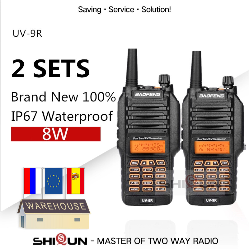 2PCS UV-9R Baofeng 8W Radio 10 KM Dual Band VHF 136-174 UHF 400-520MHz IP67 Walkie Talkie 10 KM Upgrade UV-82 UV-5R UV-XR UV 9R