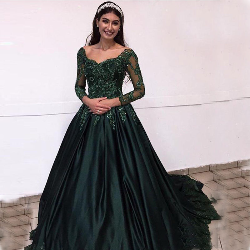 Dark Green Long Sleeves Lace Evening Dresses Arabic 2020 Scoop Neck Satin Appliques Beaded Formal Party Prom Dresses Vestidos