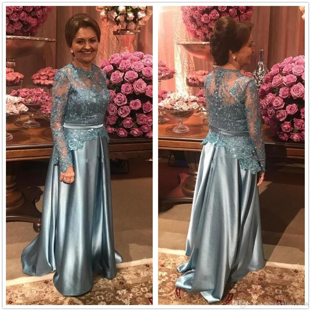 Elegant Long Sleeves Vestidos A Line Lace Applique Beaded Formal Evening Dress Party Prom Gown Mother Of The Bride Dresses 2019