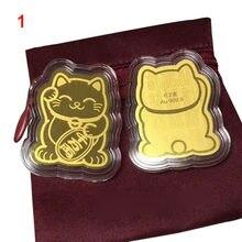 Adesivo da decoração do telefone móvel do gato da sorte da folha de ouro au999.9 ouro gato sorte ouro remendo ll @ 17
