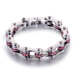Image 3 - SDA Fashion 316L titanium Steel Bracelets Blue & Purple Crystal Motorcycle Chain Bracelets 10mm wide 17CM~22CM