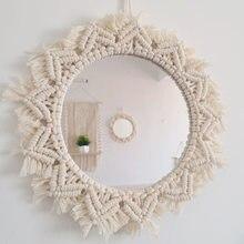 Макраме зеркальный гобелен ручной работы косметическое зеркало
