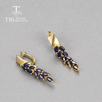 Sapphire Clasp Earrings 925 Sterling Silver 1