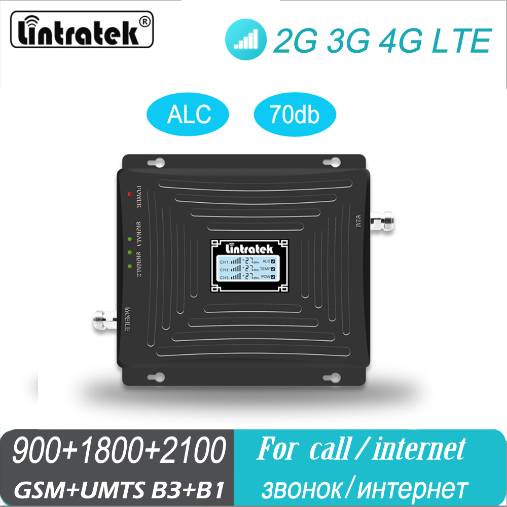 LTE 1800 Signal Booster Tri Band Mobile Phone 4G GSM 900 WCDMA 2100 DCS MHz 2G 3G ALC Lintratek Repeater Cellular Amplifier