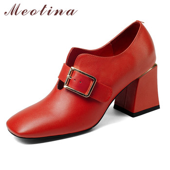 Meotina Women Shoes High Heels Natural Genuine Leather Buckle Chunky High Heel Shoes Real Leather Square Toe Pumps Female Red 39