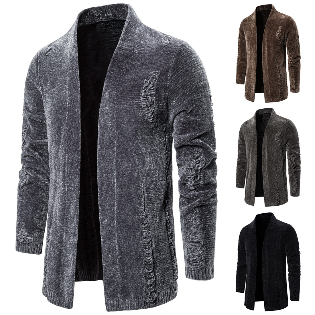 Men's Brand New Creative Holes Pure Color Spring And Autumn Personality Cardigan Sweater Coat Sweater Men Christmas Sweater Men