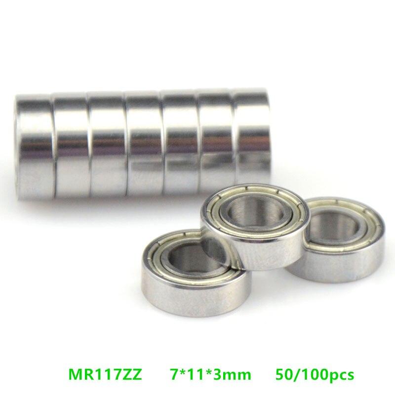 Free Shipping 50/100pcs  MR117ZZ  Miniature Bearing  MR117  MR117-2Z  Shielded Deep Groove Ball Bearing 7x11x3 Mm