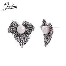 JOOLIM Vintage CZ Crystal Pave Leaf Stud Earring Luxury Party Wedding Earrings for Women Gift