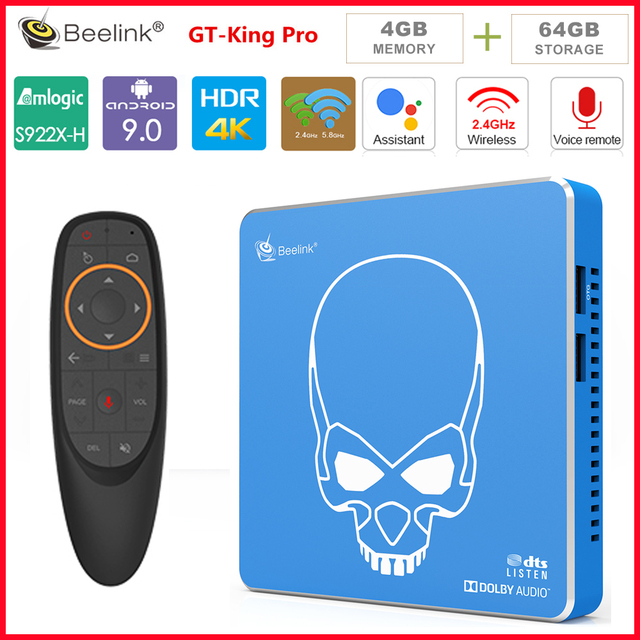 Beelink GT PRO rey S922X-H Quad-core Android 9,0 smart top box 4G + 64G ROM 2,4G/5,8G WIFI USB 3,0 Blutooth4.1 HDMI tv box player