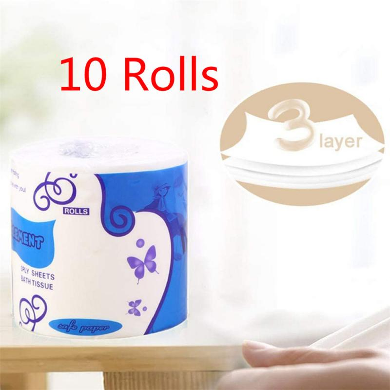 10 Rolls/Pack Home Kitchen Toilet Roll Paper Tissue Smooth Soft 3-Ply Toilet Paper Car Accessories Interior Car Paper Towels NEW