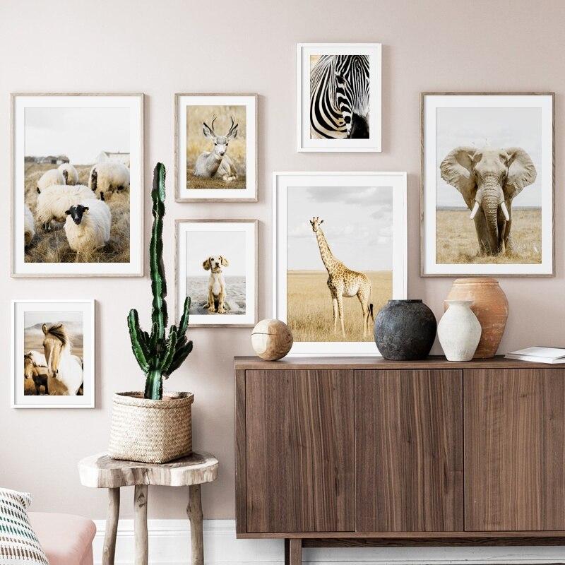 Elefanten Deer Giraffe Zebra Schafe Pferd Nordic Poster Und Drucke Wand Kunst Leinwand Malerei Wand Bilder Für Wohnzimmer Decor