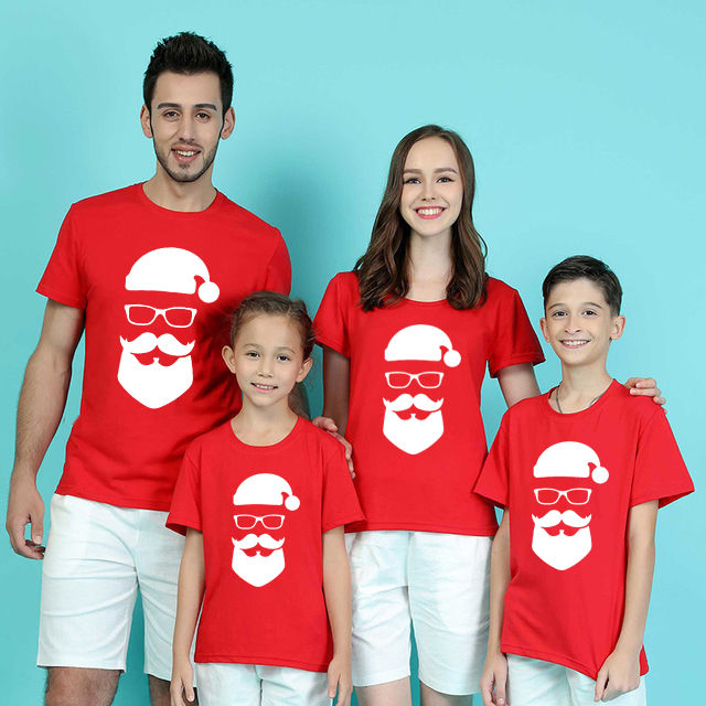 1pc Santa Claus Christmas Family Matching Clothes Mommy And Me Tshirt Mother Daughter Daddy Son T-shirt Baby Girl Boy TShirt