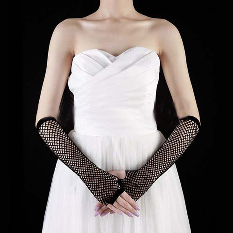 Sexy Women Lady Punk Dance Costume Party Lace Fingerless Fishnet Gloves Mittens LX9E