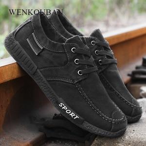 Image 5 - אופנה גברים נעלי בד זכר החורף מזדמנים ג ינס נעלי Mens סניקרס להחליק על נעלי נהיגה מוקסין Chaussure Homme שחור