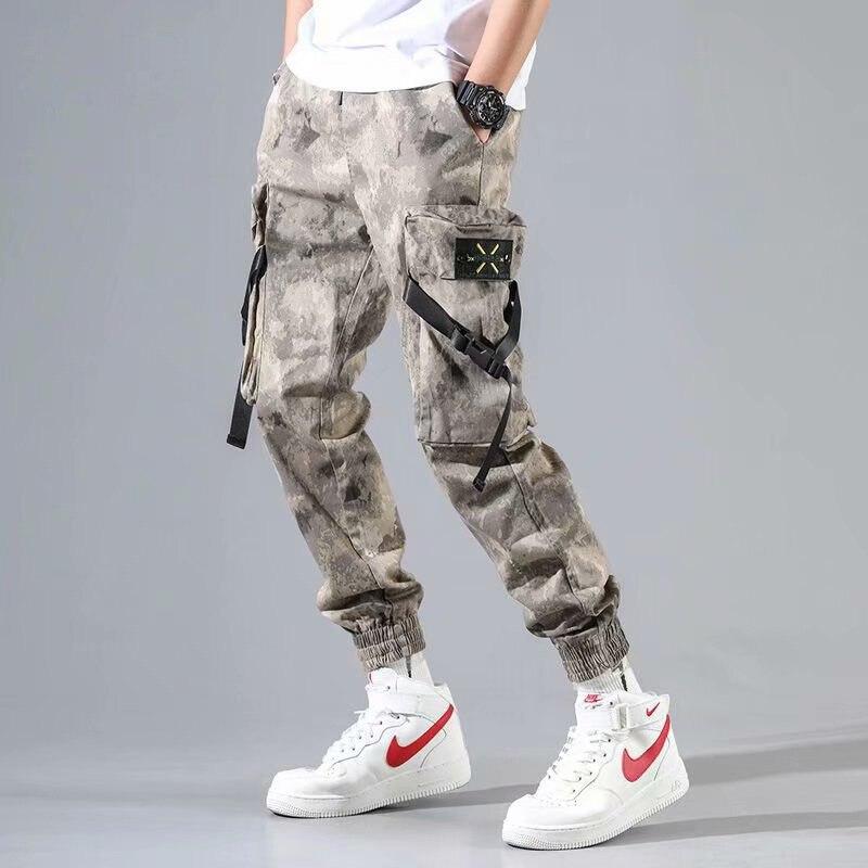 19 Spring Camouflage Bib Overall Men Popular Brand Loose Casual Pants Hip Hop Military Ankle Banded Pants Men's INS Harem