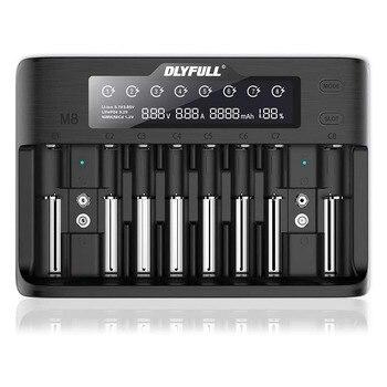 Dlyfull M8 LCD Universal Smart Battery Charger for 3.7V Li-ion,3.2V LiFePO4,1.2V Ni-MH/Cd,9V Block