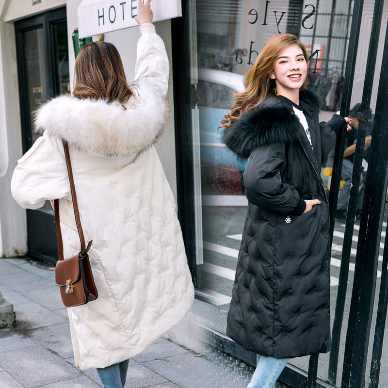 Down Parka Women Duck Down Jackets Female Winter Coat 2019 New Long Embroidery Natural Raccoon Fur Overcoat Hiver LW1112