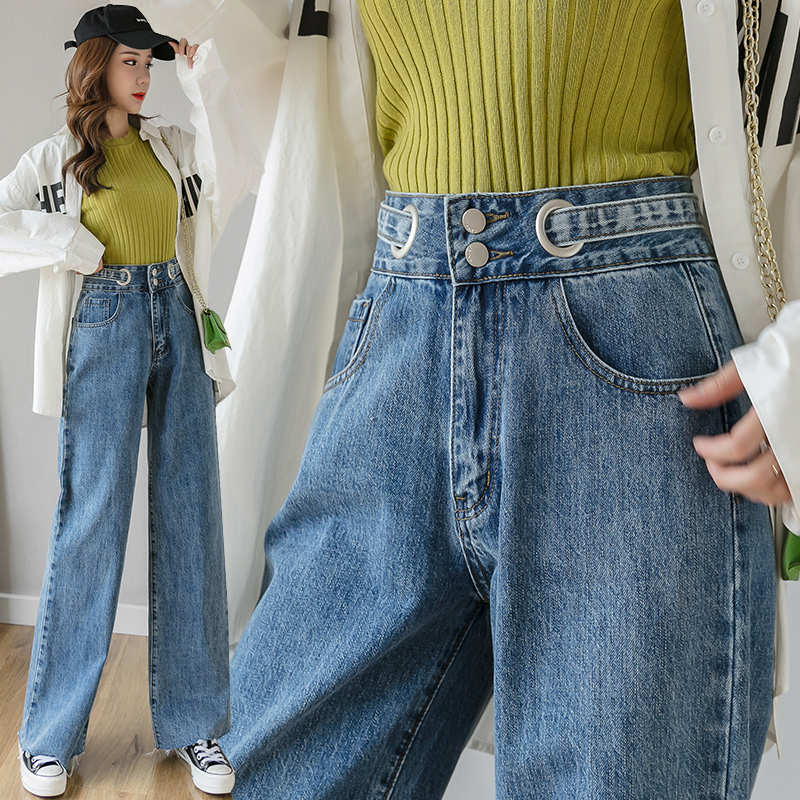 2020 Spring New Denim Wide Leg Pants Female Korean Mopping Pants High Waist Was Thin Straight Pants