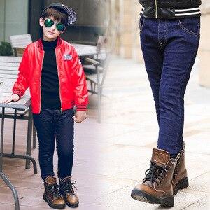 Image 4 - בני ג ינס החורף עבה חם ג ינס מכנסיים ילדים מוצק כותנה צמר מכנסיים ילדים בגדי אלסטי מותניים ג ינס 4 6 8 10 שנים
