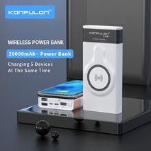 Беспроводной внешний аккумулятор 20000 мАч, беспроводное зарядное устройство, внешний аккумулятор Quick 3,0, портативная зарядка, тонкий внешний ...