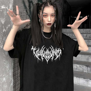 Korean style Casual Letter Print kpop punk Ulzzang Tees vintage Gothic Harajuku Loose tops Hip Hop Black T-Shirts Women