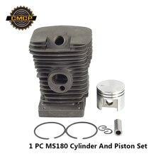 1 комплект поршневой комплект для бензопилы MS180 цилиндр и поршневой комплект бензопилы запасные части для бензина/масла